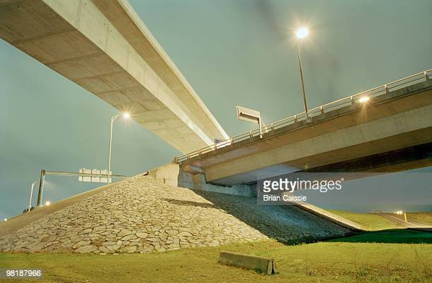 low angle view of highway overpass - richmond british columbia stock photos and pictures