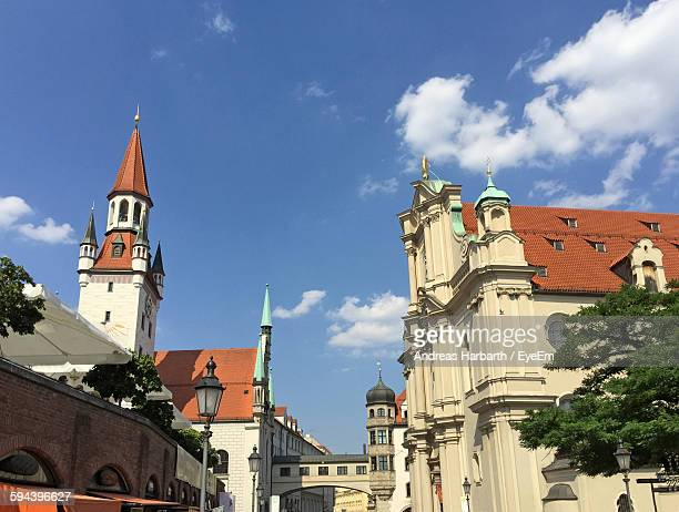 low angle view of historic buildings against sky - viktualienmarkt stock pictures, royalty-free photos & images