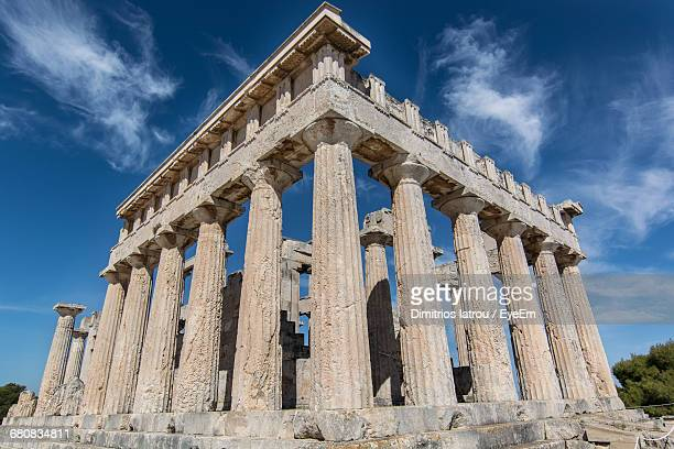 Low Angle View Of Historical Greek Temple Of Aphaea