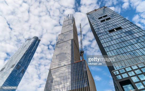 low angle view of hudson yards - new york - hudson yards stock pictures, royalty-free photos & images