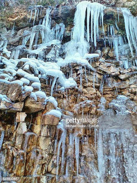Low Angle View Of Ice Crystals On Rocks
