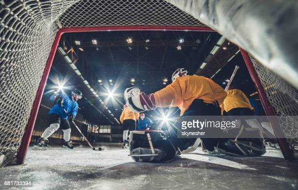 Low angle view of ice hockey player about to shoot at the goal.