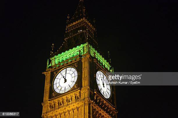 Low Angle View Of Illuminated Big Ben Against Clear Sky At Night