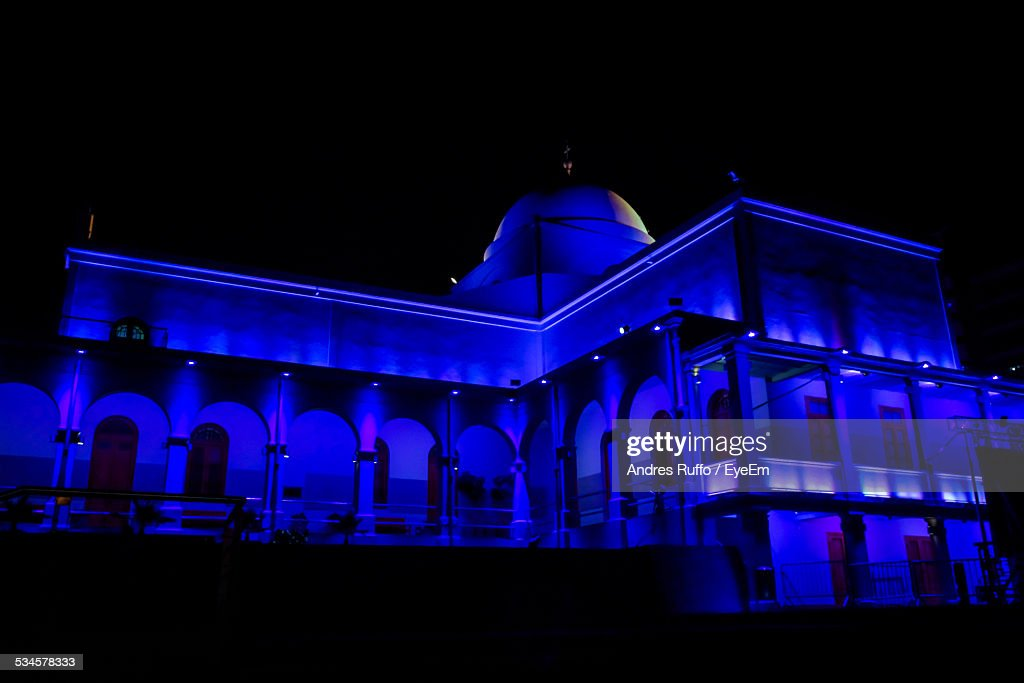 Low Angle View Of Illuminated Blue Mosque Against Sky At Night : Stock Photo