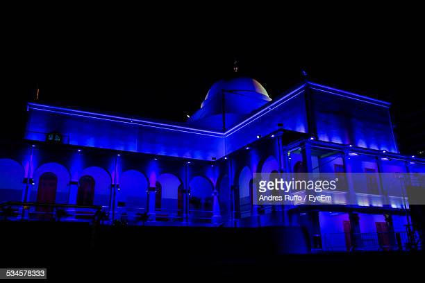 Low Angle View Of Illuminated Blue Mosque Against Sky At Night