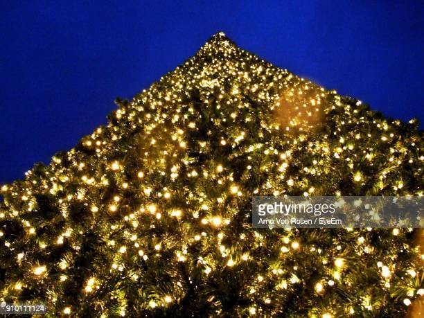 Low Angle View Of Illuminated Christmas Tree Against Clear Blue Sky