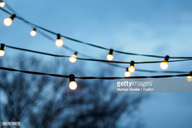 Low Angle View Of Illuminated Light Bulbs Against Tree During Christmas