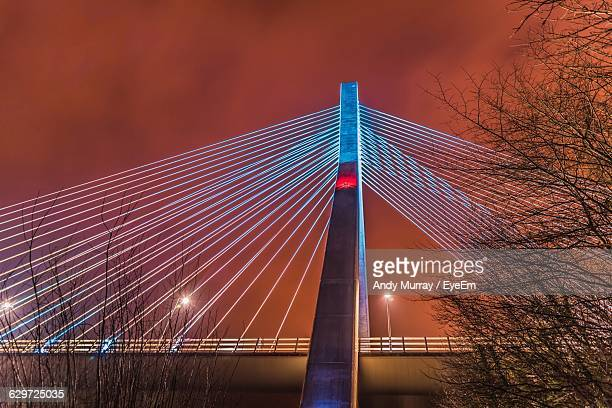 Low Angle View Of Illuminated Mary Mcaleese Boyne Valley Bridge Against Sky