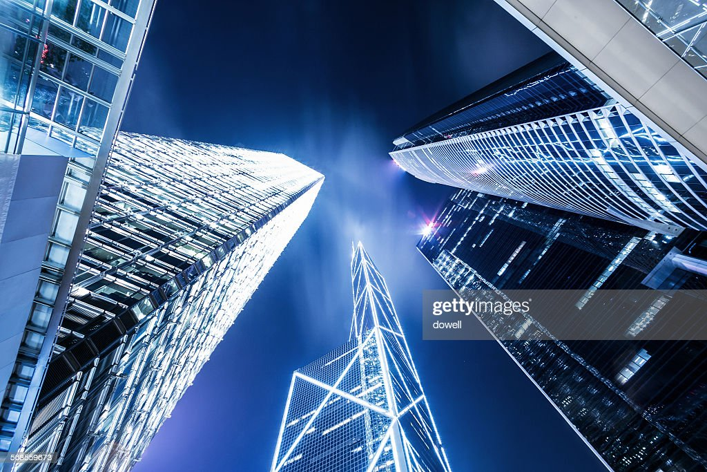 Low angle view of illuminated skyscrapers : Stock Photo