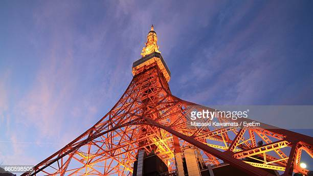 Low Angle View Of Illuminated Tokyo Tower Against Sky