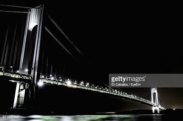 Low Angle View Of Illuminated Verrazano-Narrows Bridge Against Clear Sky At Night