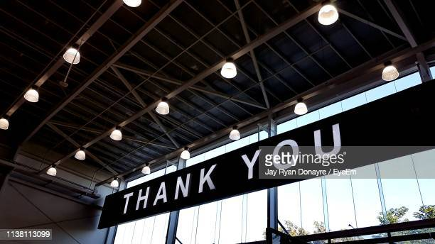low angle view of information sign - thank you stock pictures, royalty-free photos & images