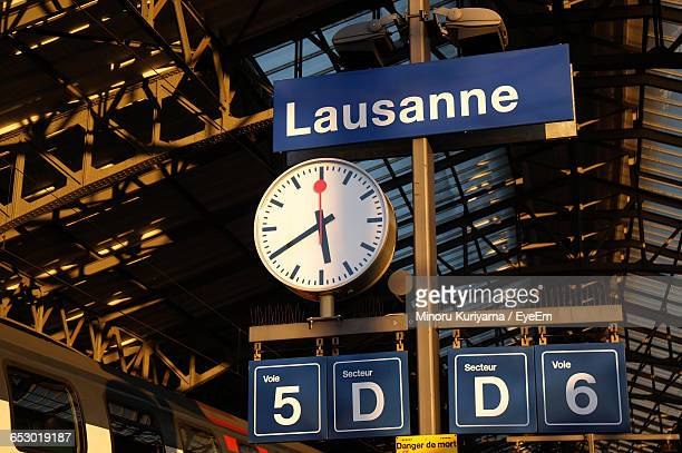 low angle view of information sign - lausanne stock pictures, royalty-free photos & images