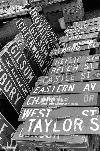 Low Angle View Of Information Signs