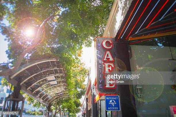 low angle view of internet cafe sign on street, santa monica, los angeles, california, usa - internet cafe stock pictures, royalty-free photos & images