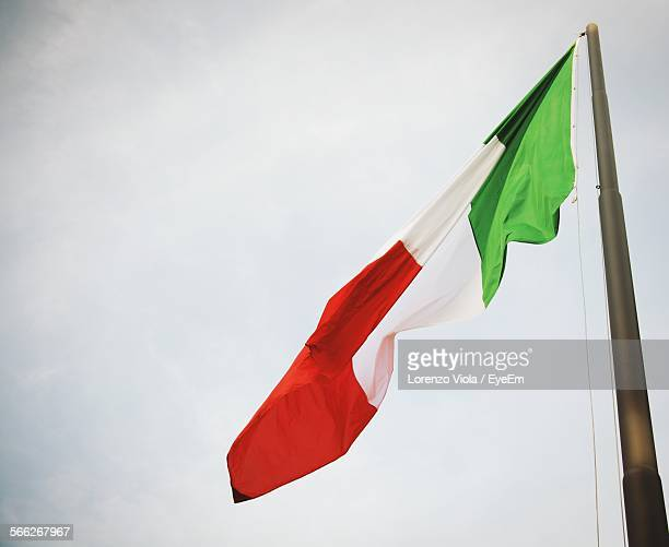 Low Angle View Of Italian Flag Against Sky