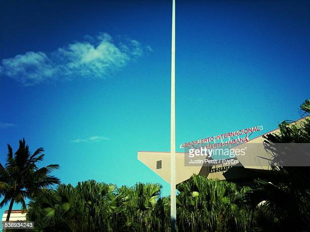 low angle view of jose marti international airport against blue sky - jose marti airport stock pictures, royalty-free photos & images