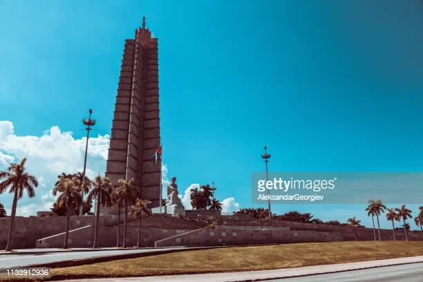 low angle view of jose marti memorial, plaza de la revolucion, havana, cuba - plaza de la revolución havana stock photos and pictures
