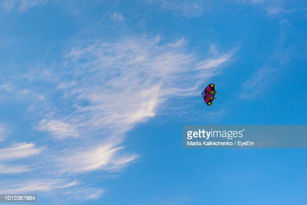 low angle view of kite flying in blue sky - kite toy stock photos and pictures