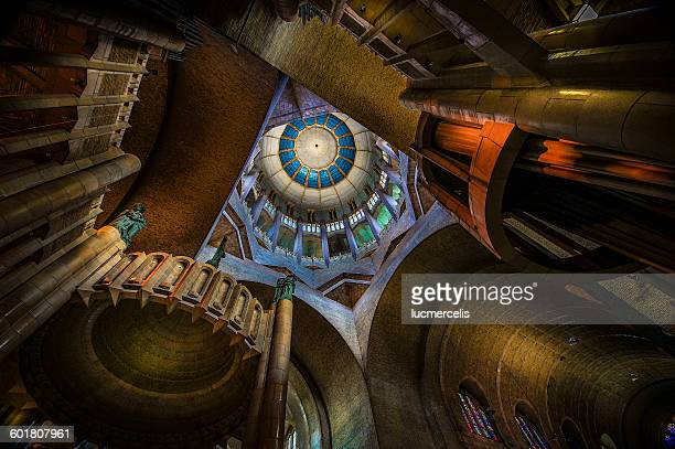 low angle view of koekelberg basilica, belgium - brussels capital region stock photos and pictures