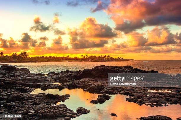 low angle view of kukuiula bay at sunset - kauai, hawaii, usa - hawaii islands stock pictures, royalty-free photos & images