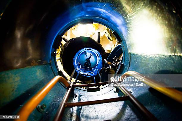 Low Angle View Of Ladder In Submarine