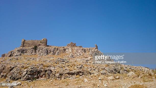Low Angle View Of Landscape Against Clear Blue Sky