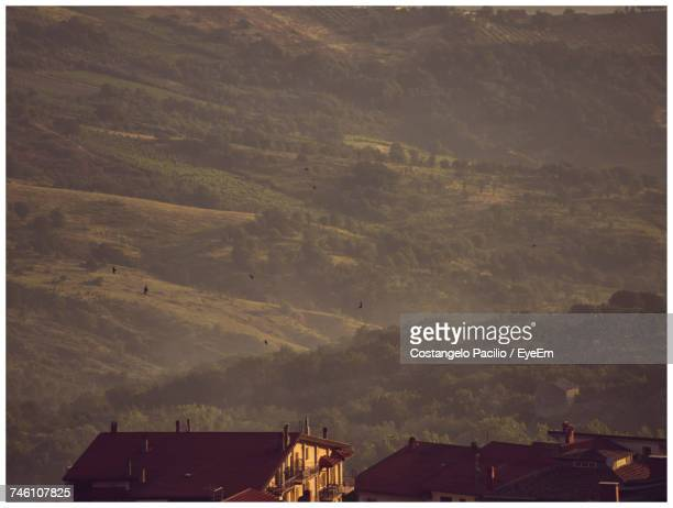 low angle view of landscape against sky - costangelo pacilio foto e immagini stock