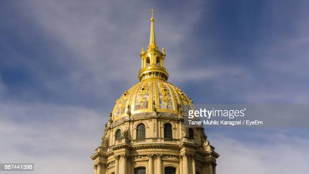 low angle view of les invalides against sky - les invalides quarter stock photos and pictures