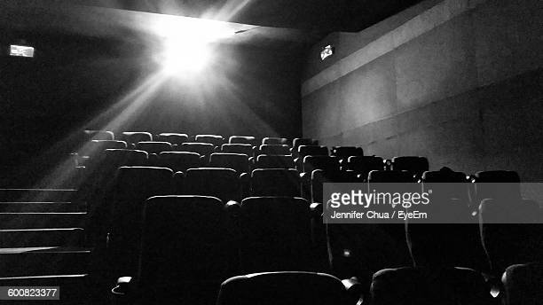 Low Angle View Of Light Coming Out From Movie Projector In Empty Movie Theater