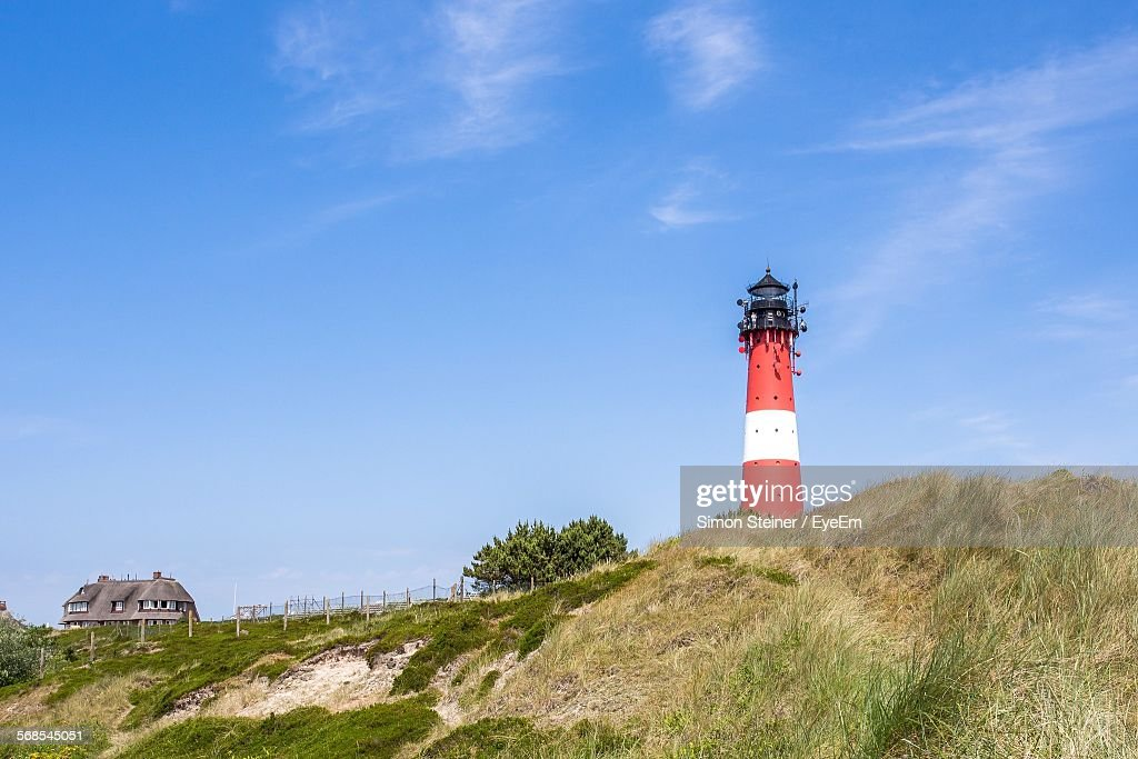 Low Angle View Of Lighthouse On Hill Against Sky At Hornum : Stock Photo