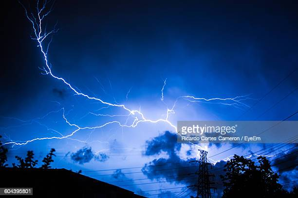 Low Angle View Of Lightning At Dusk