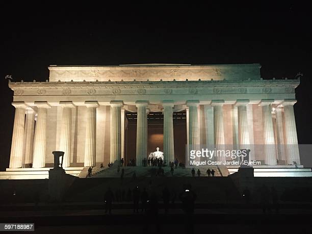 Low Angle View Of Lincoln Memorial Against Clear Sky At Night