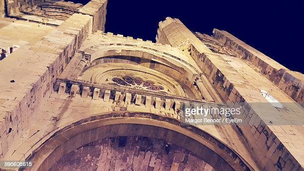 Low Angle View Of Lisbon Cathedral At Night