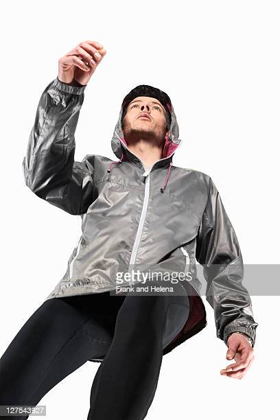 Low angle view of man jogging