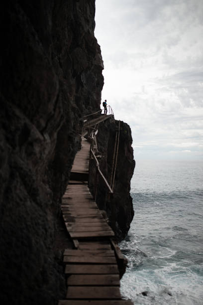 Low Angle View Of Man Standing On Cliff By Sea