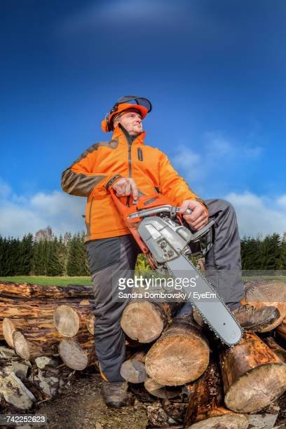 Low Angle View Of Man Standing On Logs Against Sky