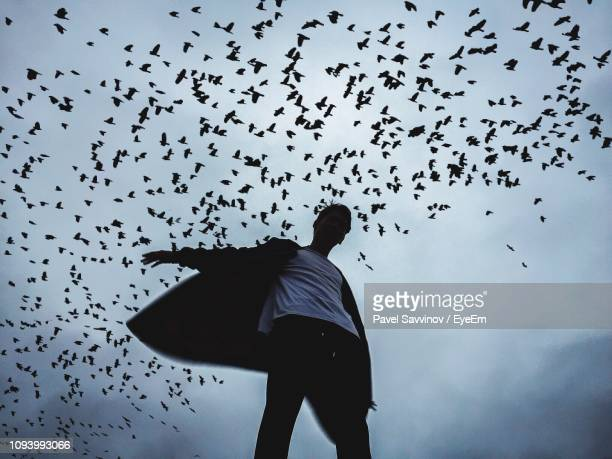 low angle view of man standing under silhouette birds flying against sky - low angle view stock pictures, royalty-free photos & images