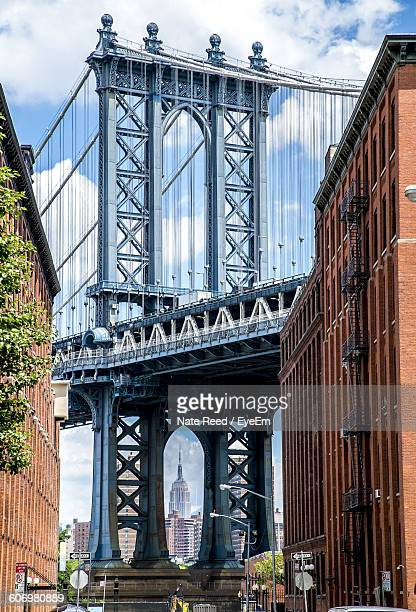Low Angle View Of Manhattan Bridge Against Sky In City