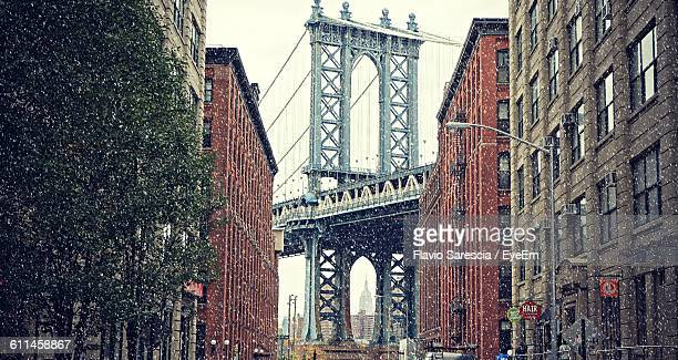 Low Angle View Of Manhattan Bridge And Building