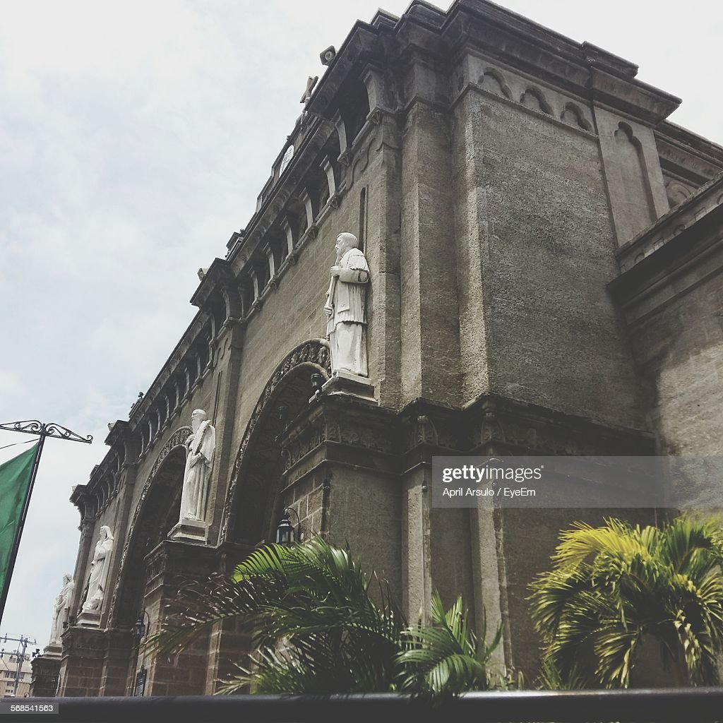 Low Angle View Of Manila Cathedral Against Sky : Stock Photo