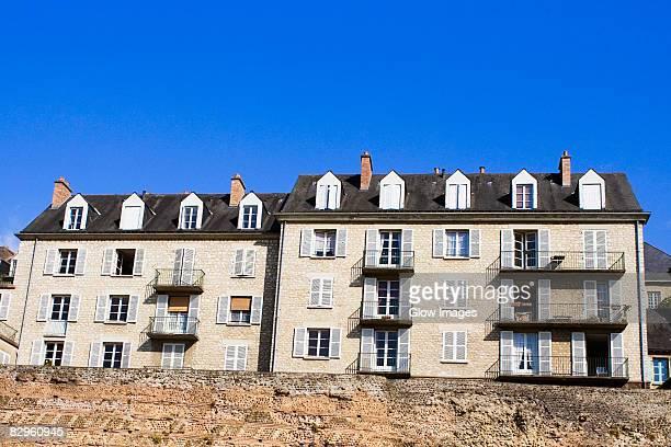 Low angle view of medieval houses, Le Mans, Sarthe, Pays-de-la-Loire, France