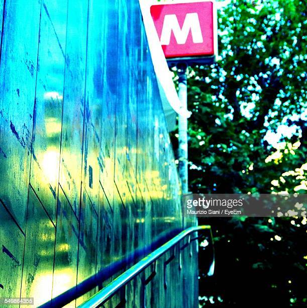 Low Angle View Of Metro Sign