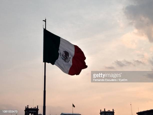 low angle view of mexican flag against sky during sunset - bandera mexicana fotografías e imágenes de stock