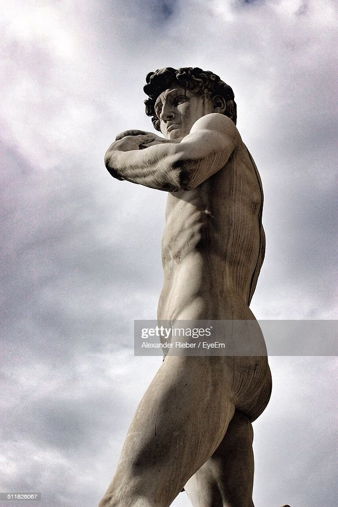 Low angle view of Michelangelos David statue : Stock Photo