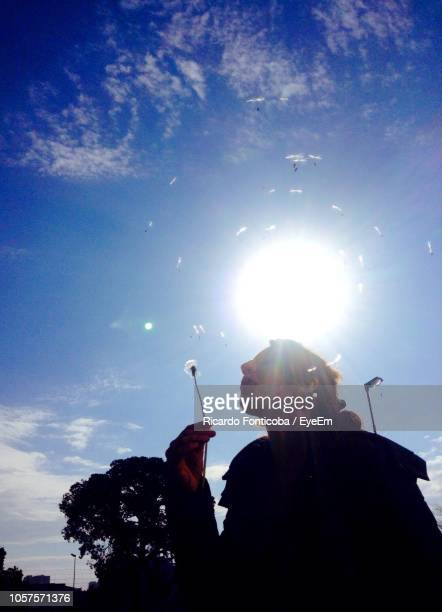 Low Angle View Of Mid Adult Woman Blowing Dandelion Seed While Standing Against Sky During Sunny Day