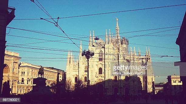 Low Angle View Of Milan Cathedral Against Clear Blue Sky