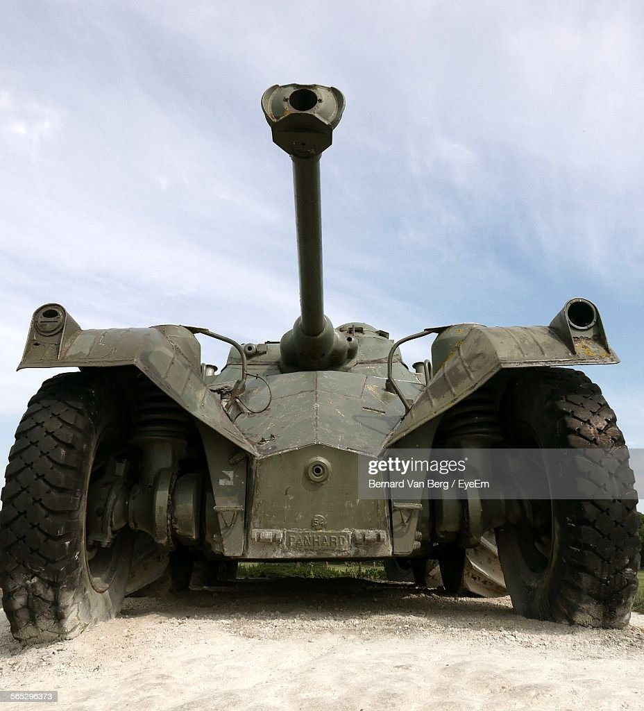 Low Angle View Of Military Tank Against Sky : Stock Photo