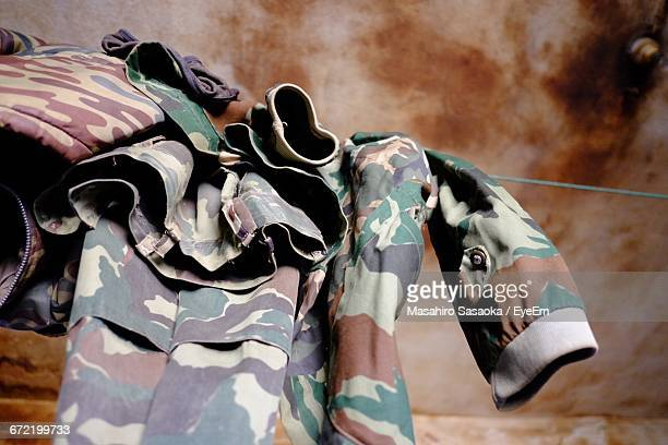 Low Angle View Of Military Uniform Hanging On Clothesline