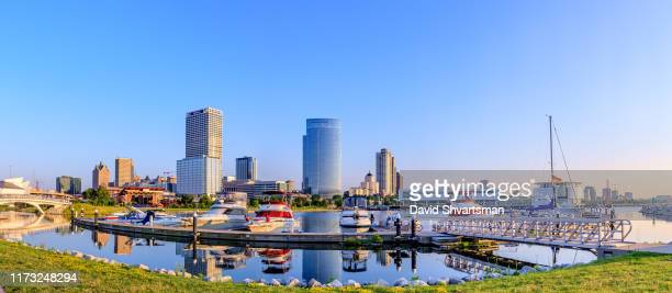low angle view of milwaukee downtown skyline in the early morning - milwaukee, wisconsin, usa - wisconsin stock pictures, royalty-free photos & images